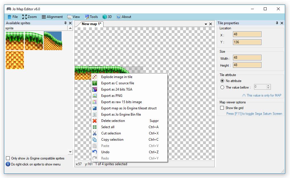 Jo Sega Saturn Engine, Create tileset and convert sprites in